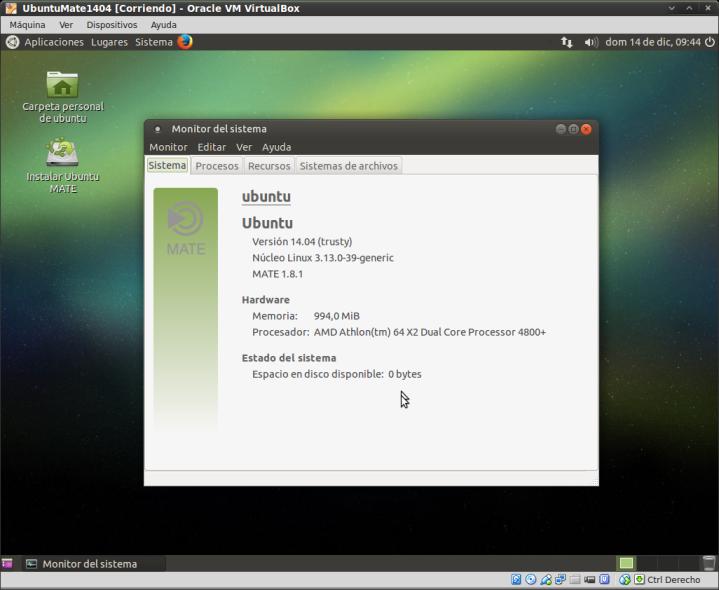 Ubuntu Mate 14.04- Monitor del sistema