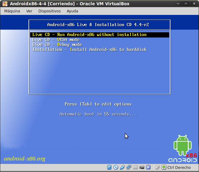 Pantallazo-Androidx86-4-4 [Corriendo] - Oracle VM VirtualBox