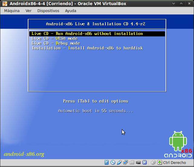 Pantallazo-Androidx86-4-4 [Corriendo] - Oracle VM VirtualBox