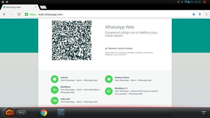 Página Whatsapp en Web