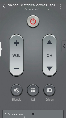 Smart Remote: pantalla de volumen y selección de canales