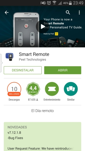Smart Remote en el Play Store de Google