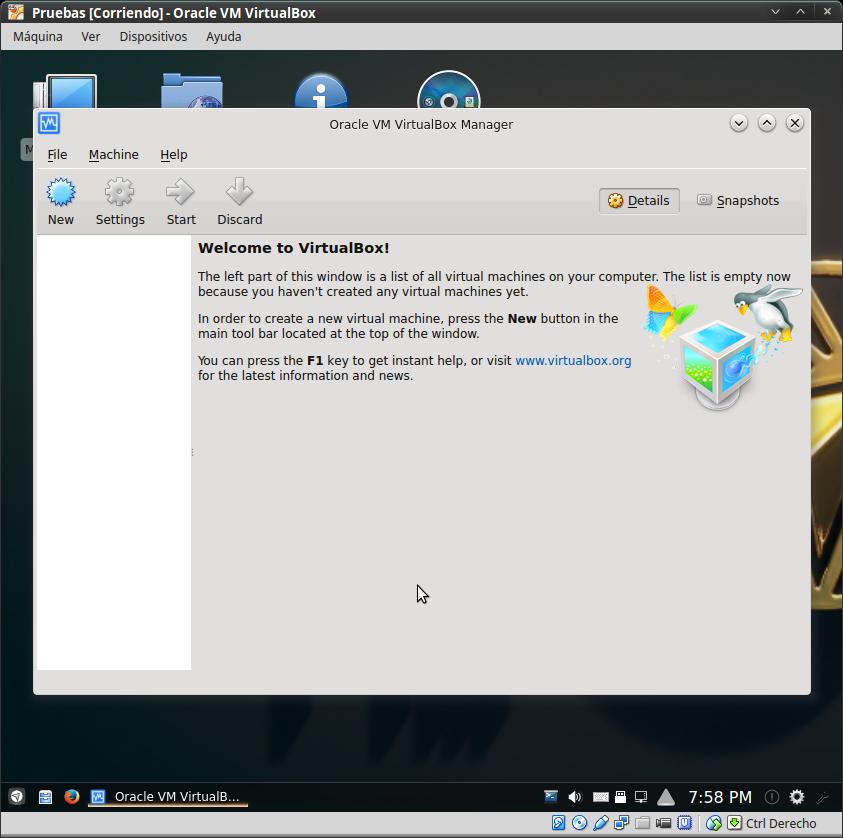 Netrunner16-Corriendo Virtualbox, aún sin ninguna máquina definida