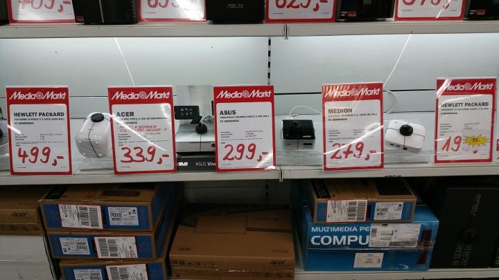 Mini-PCs. Otro centro comercial de la misma marca. Obsérvese la variación de precios.