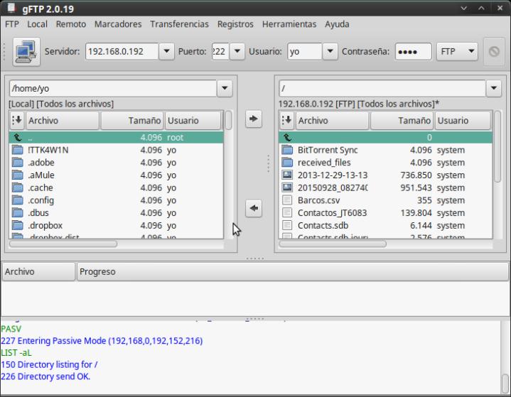 gFTP- Interfase normal de trabajo